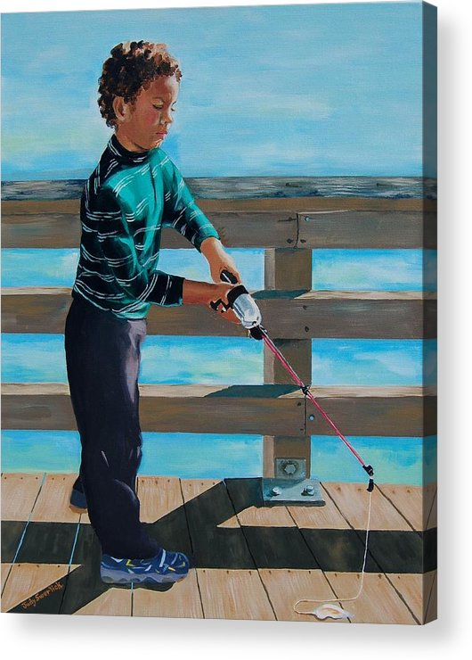 Fishing Acrylic Print featuring the painting Naples Boy Fishing by Judy Swerlick