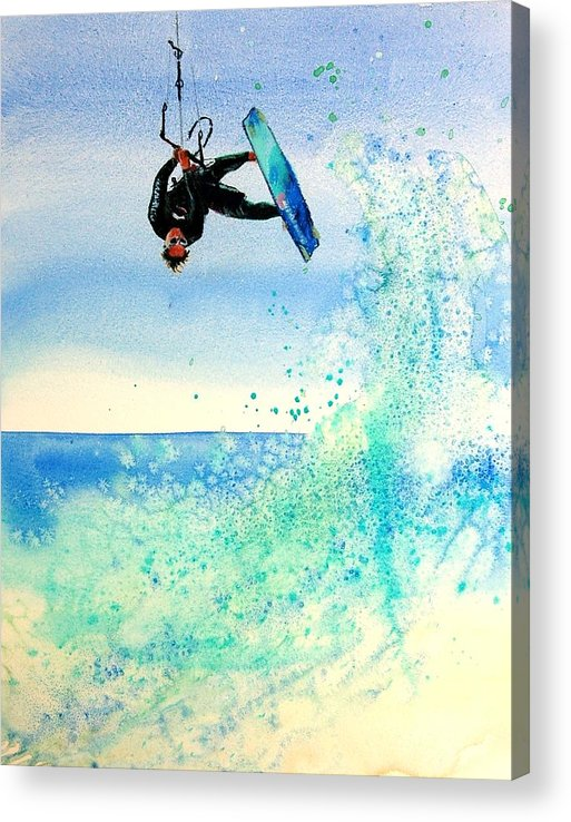 Kiteboarding Acrylic Print featuring the painting Xtreme Big Air by Lynee Sapere
