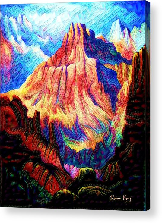 Mountains Acrylic Print featuring the digital art Redder Mountain by Donn Kay