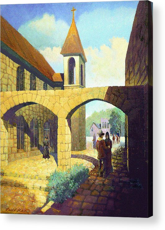 Texas New Mexico Missions Cowboy Horses Southwestern Giclee Prints Churches Acrylic Print featuring the painting A Brothers Farewell by Donn Kay