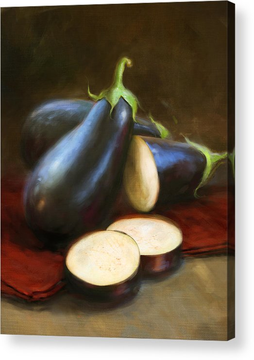 Vegetables Acrylic Print featuring the painting Eggplants by Robert Papp