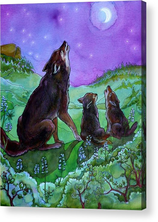Coyote Acrylic Print featuring the painting Make A Joyful Noise by Jill Iversen
