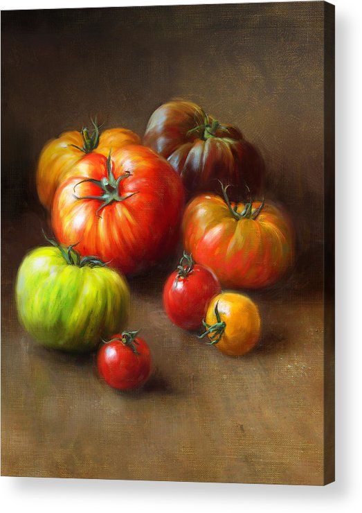 Tomato Acrylic Print featuring the painting Heirloom Tomatoes by Robert Papp