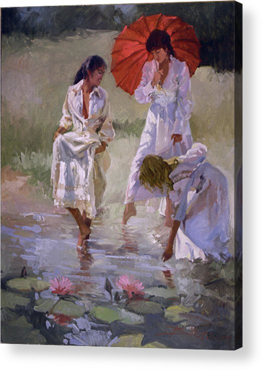 Figurative Acrylic Print featuring the painting Ladies And Lilies by Betty Jean Billups