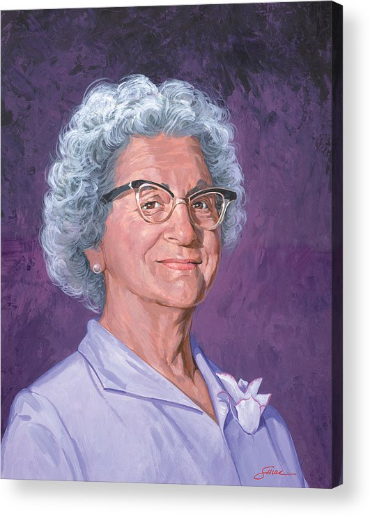 Portrait Acrylic Print featuring the painting Louise Shull by Harold Shull