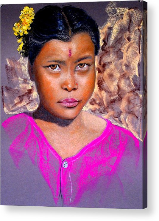 Nepal Acrylic Print featuring the painting Nepalese Girl by David Horning