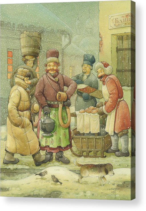 Russian Winter Acrylic Print featuring the painting Russian Scene 04 by Kestutis Kasparavicius