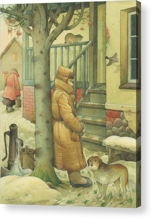 Russian Winter Acrylic Print featuring the painting Russian Scene 10 by Kestutis Kasparavicius
