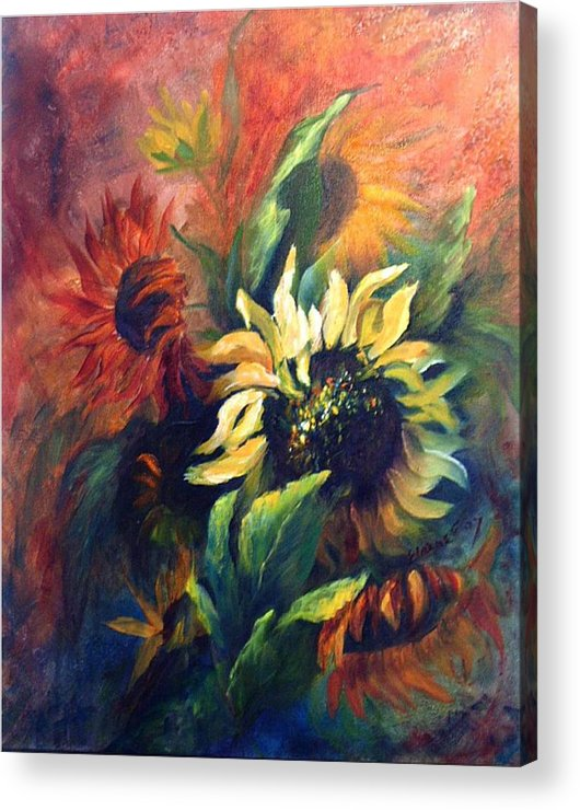 Sunflower Acrylic Print featuring the painting Sunflowers in red by Elaine Bailey