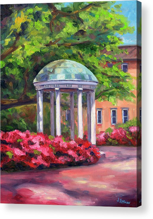 University Of North Carolina At Chapel Hill Acrylic Print featuring the painting The Old Well UNC by Jeff Pittman