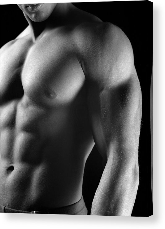 Male Acrylic Print featuring the photograph Torso of Model J by Dan Nelson
