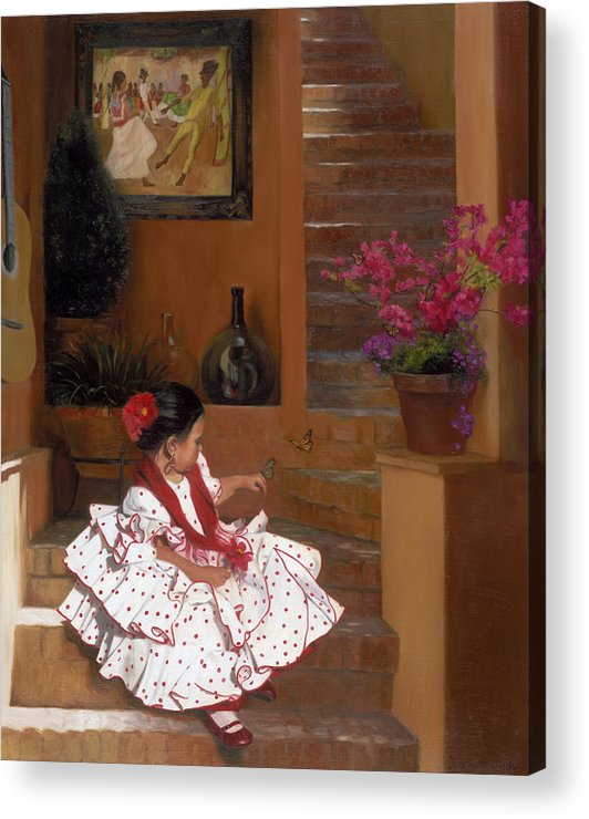 Mexico Acrylic Print featuring the painting Western Grace of Good Cheer  Mexico  from The Three Graces of the West by Anna Bain