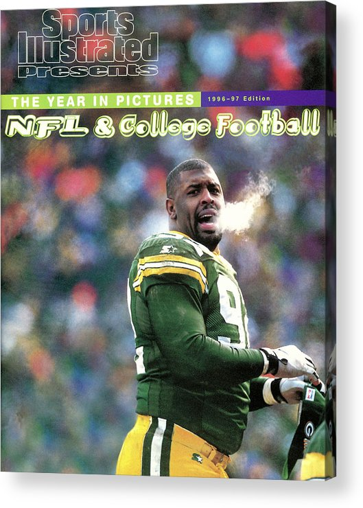 Green Bay Acrylic Print featuring the photograph Green Bay Packers Reggie White, 1997 Nfc Championship Sports Illustrated Cover by Sports Illustrated