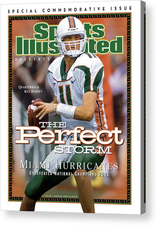 Sports Illustrated Acrylic Print featuring the photograph University Of Miami Qb Ken Dorsey, 2001 Ncaa National Sports Illustrated Cover by Sports Illustrated