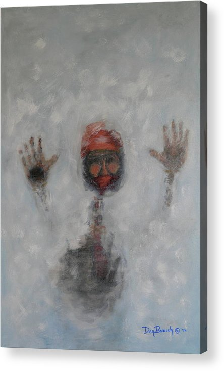 Winter Acrylic Print featuring the painting Frosty Window by Dan Bozich