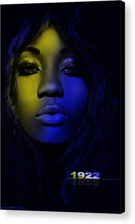 1922 Blue And Gold Print Acrylic Print featuring the digital art 1922 by Lloyd DeBerry