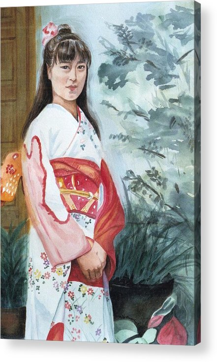 Japanese Girl In Kimono Acrylic Print featuring the painting Girl in Kimono by Judy Swerlick