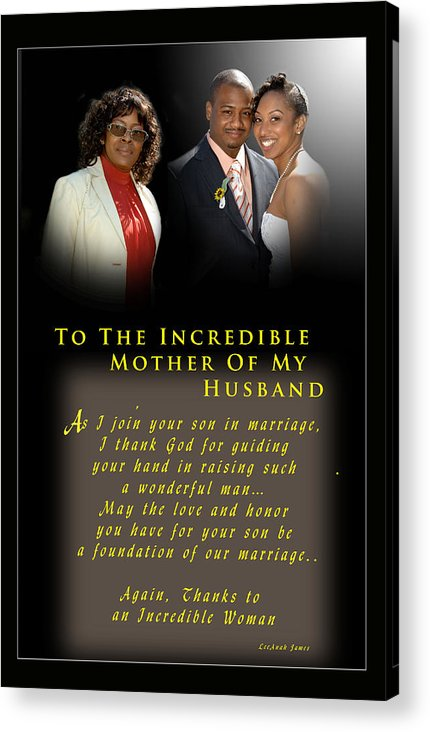 Wedding Acrylic Print featuring the photograph Incredible Mom by Richard Gordon