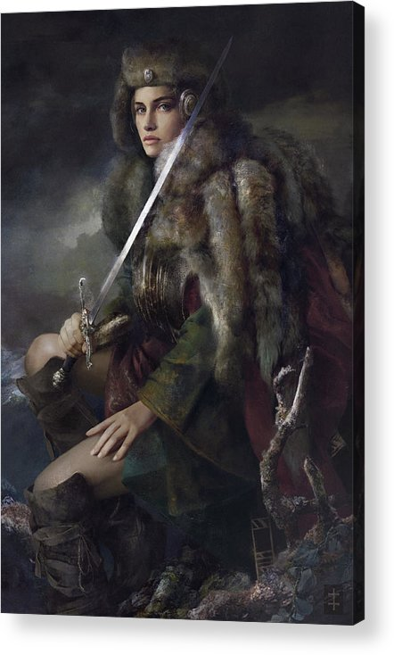 Warrioress Acrylic Print featuring the painting Viktoria by Eve Ventrue