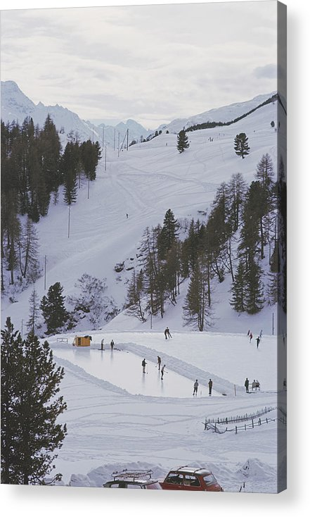 People Acrylic Print featuring the photograph Curling At St. Moritz by Slim Aarons