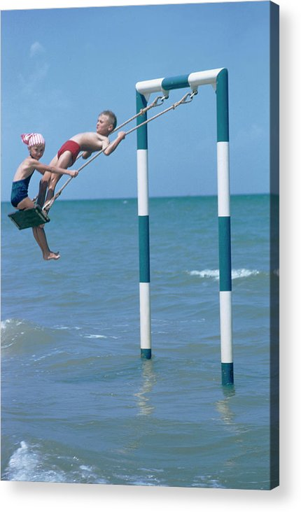 Adriatic Sea Acrylic Print featuring the photograph Sea Swing by Slim Aarons