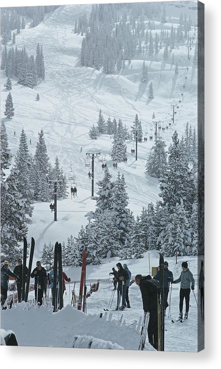 Ski Pole Acrylic Print featuring the photograph Skiing In Vail by Slim Aarons