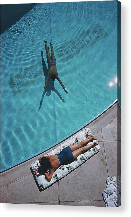 Young Men Acrylic Print featuring the photograph Swimmer And Sunbather by Slim Aarons