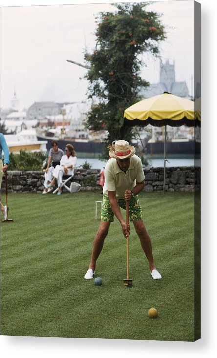 Straw Hat Acrylic Print featuring the photograph Croquet by Slim Aarons