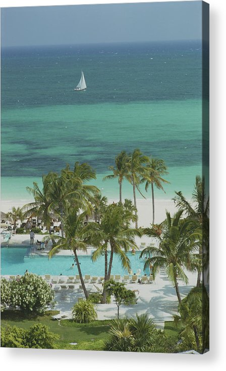Swimming Pool Acrylic Print featuring the photograph Freeport Beach by Slim Aarons