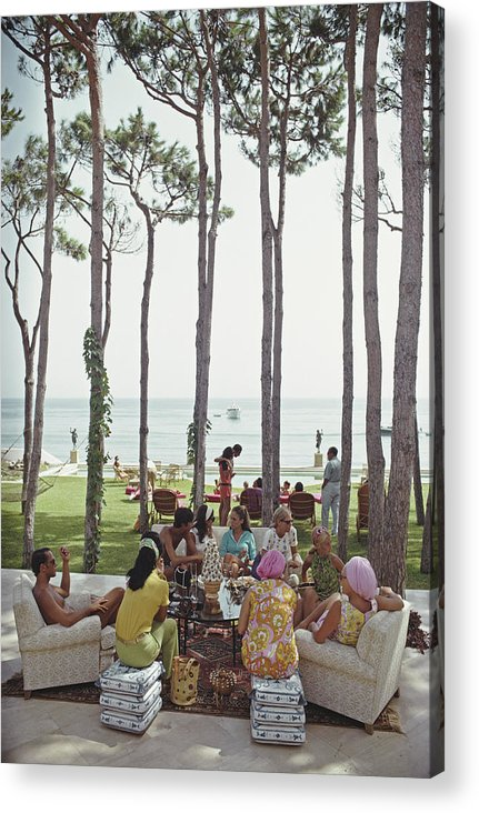 People Acrylic Print featuring the photograph Marbella House Party by Slim Aarons