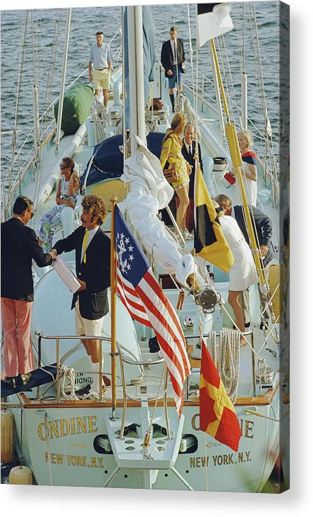 People Acrylic Print featuring the photograph Party In Bermuda by Slim Aarons