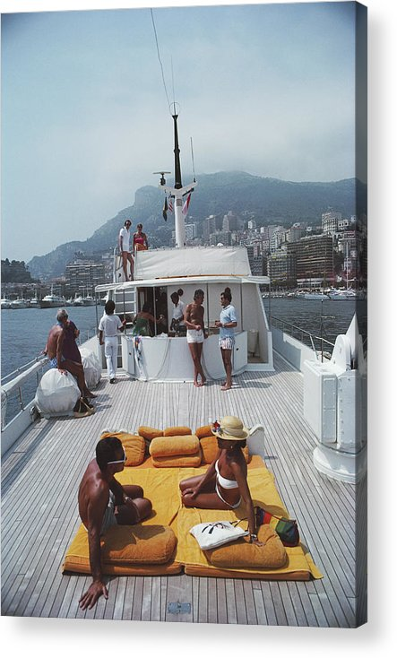 1980-1989 Acrylic Print featuring the photograph Scottis Yacht by Slim Aarons