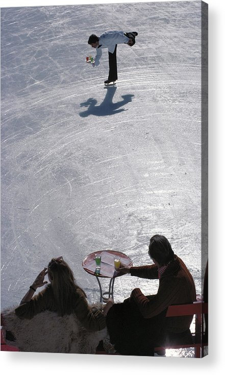 People Acrylic Print featuring the photograph Skating Waiter by Slim Aarons
