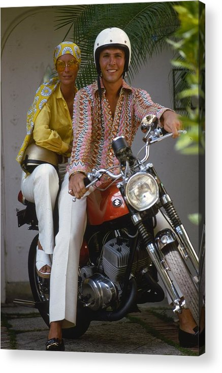 Sports Helmet Acrylic Print featuring the photograph Socialite Bikers by Slim Aarons