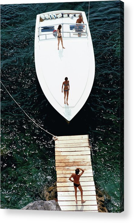 Motorboat Acrylic Print featuring the photograph Speedboat Landing by Slim Aarons