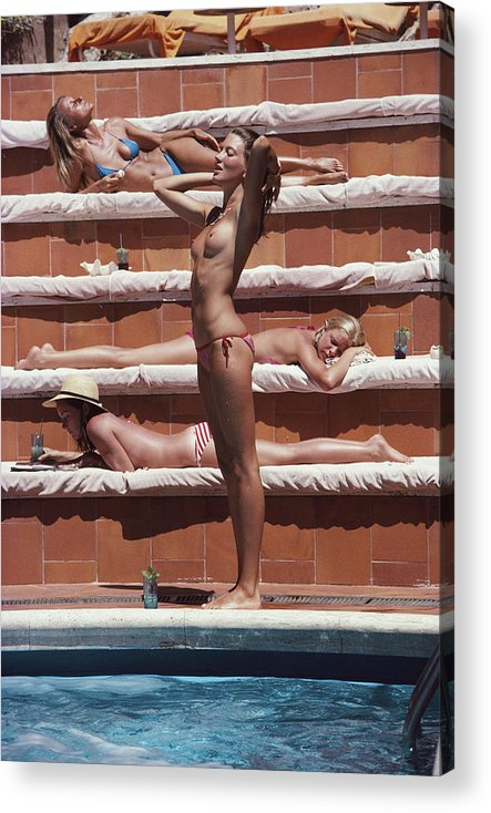 1980-1989 Acrylic Print featuring the photograph Sunbathing On Capri by Slim Aarons
