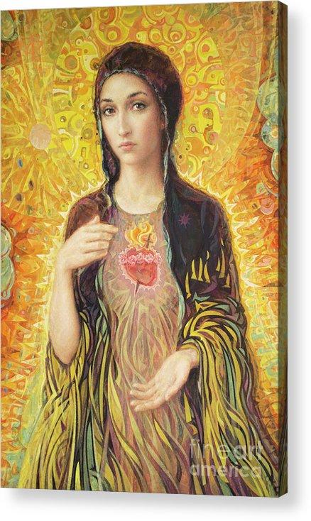 Immaculate Heart Of Mary Acrylic Print featuring the painting Immaculate Heart of Mary olmc by Smith Catholic Art