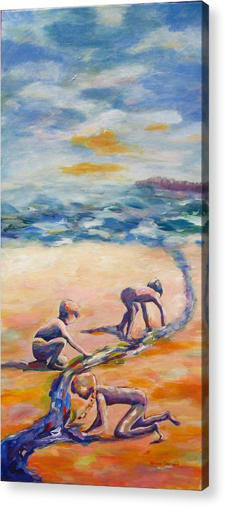 Our Kids Playing On The Beach Creating A River That They Feel Very Protective Of.  Acrylic Print featuring the painting Protecting Our River by Naomi Gerrard