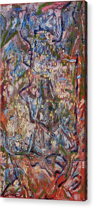 Abstract Red Yellow Pattern Acrylic Print featuring the painting Red City by Joan De Bot