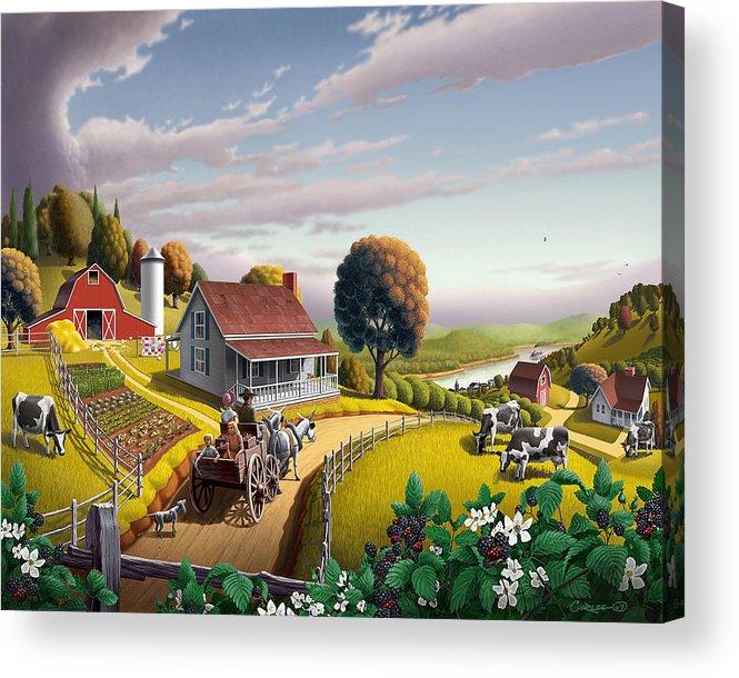 Farm Landscape Acrylic Print featuring the painting Appalachian Blackberry Patch Rustic Country Farm Folk Art Landscape - Rural Americana - Peaceful by Walt Curlee
