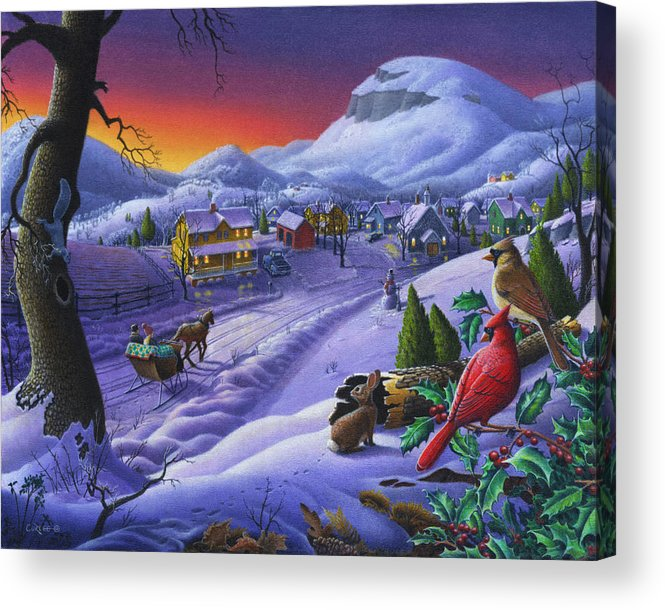 Christmas Acrylic Print featuring the painting Christmas Sleigh Ride Winter Landscape Oil Painting - Cardinals Country Farm - Small Town Folk Art by Walt Curlee