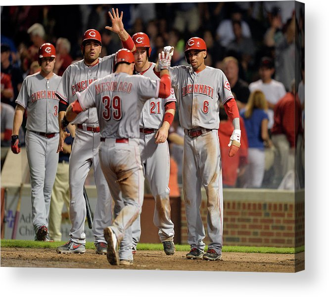 Ninth Inning Acrylic Print featuring the photograph Cincinnati Reds V Chicago Cubs by Brian Kersey