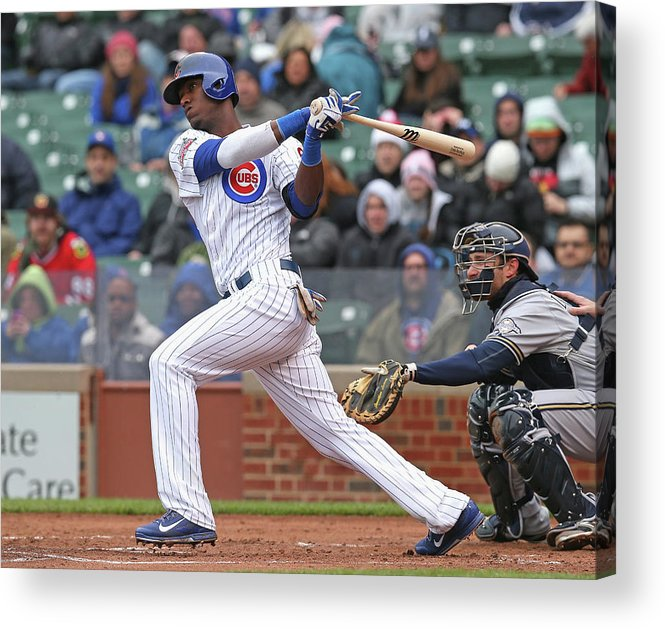 National League Baseball Acrylic Print featuring the photograph Milwaukee Brewers V Chicago Cubs by Jonathan Daniel