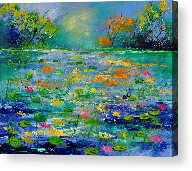 Landscape Acrylic Print featuring the painting Pond 454190 by Pol Ledent