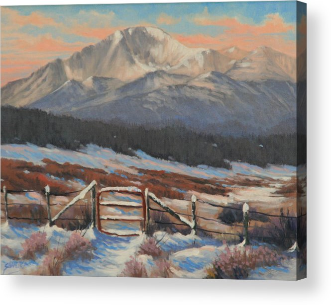 Pikes Peak Acrylic Print featuring the painting 110901-810 Red Gate by Kenneth Shanika