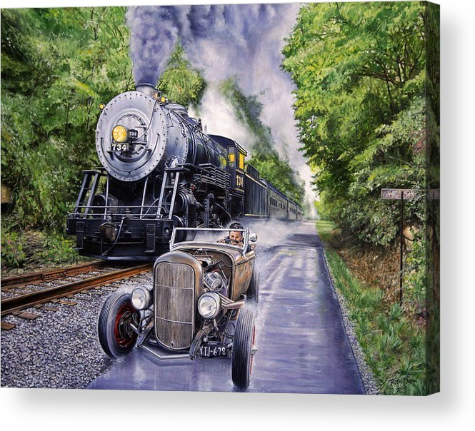 Hot Rod Acrylic Print featuring the painting Backwoods Duel by Ruben Duran