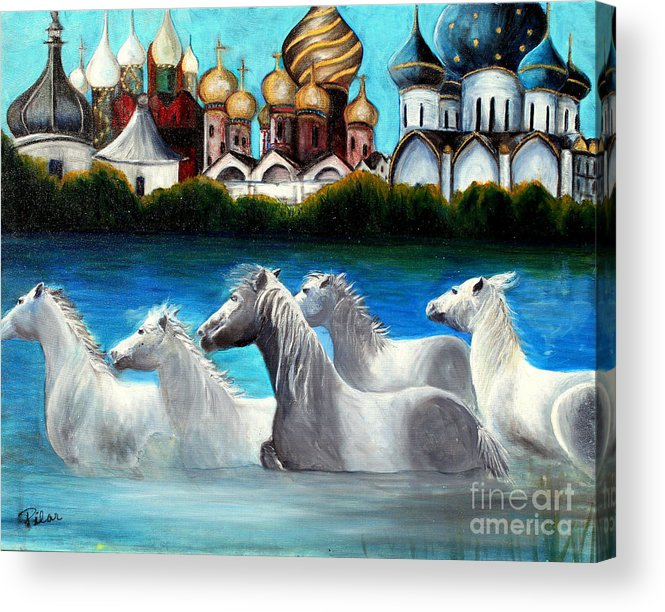 Russian Domes Acrylic Print featuring the painting Magical Horses by Pilar Martinez-Byrne