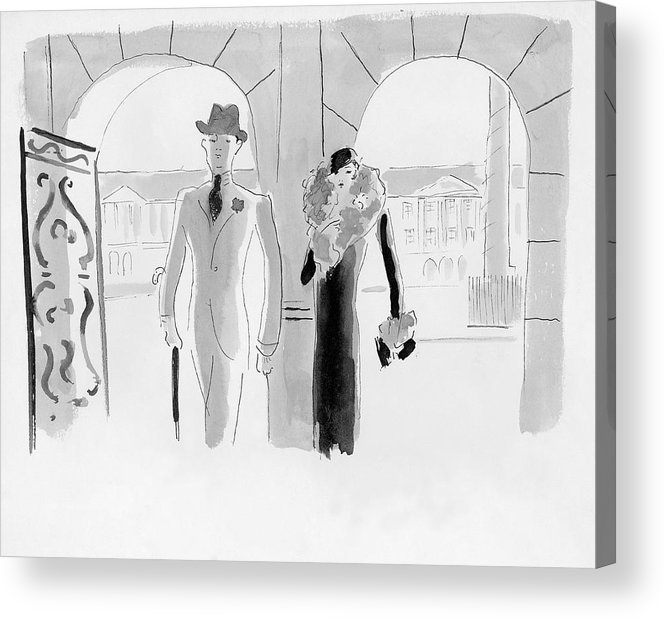 Illustration Acrylic Print featuring the digital art A Couple At The Ritz Hotel by Oberle