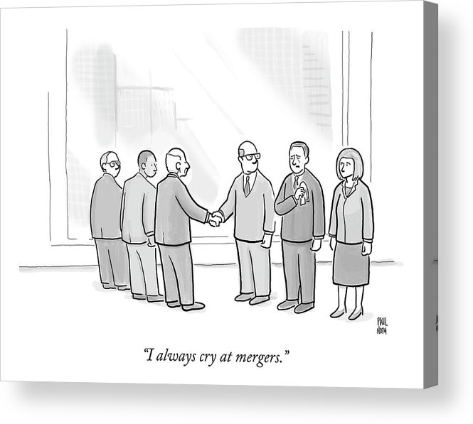 Business Acrylic Print featuring the drawing A Group Of People In A Boardroom Watch As Two Men by Paul Noth
