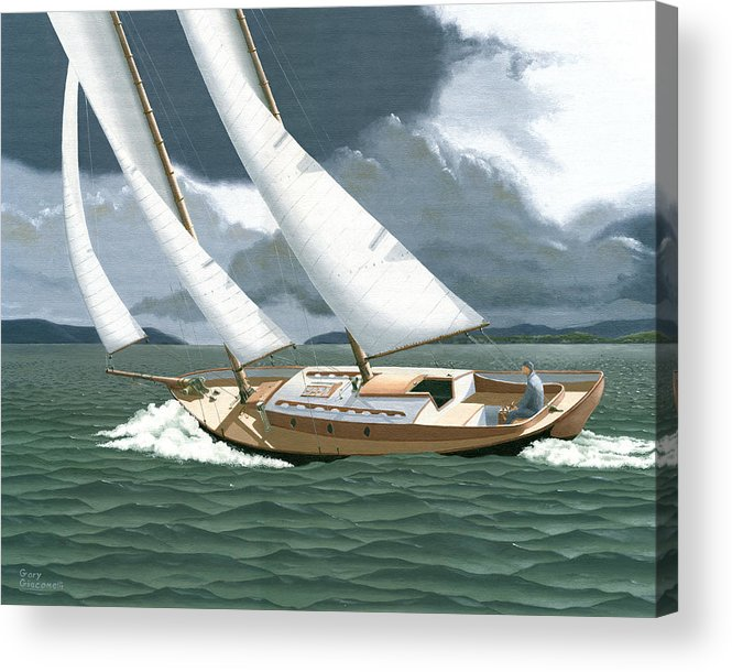 Gulf Islands Acrylic Print featuring the painting A passing squall by Gary Giacomelli